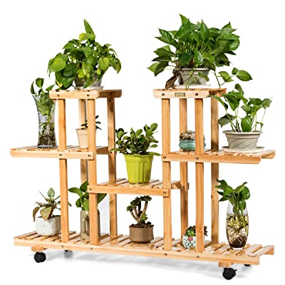 Happygrill Flower Rack Wooden Plant Stand, Wood Shelves Bonsai Display Shelf with Wheels : Garden & Outdoor
