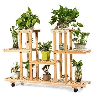 Giantex Rolling Flower Rack Wood Plant Stand on Wheels 6 Wood Shelves 12 Pots Bonsai Display Shelf Indoor Outdoor Yard Garden Patio Balcony Living Room Storage Rack Bookshelf Hollow Shelves (Natural)