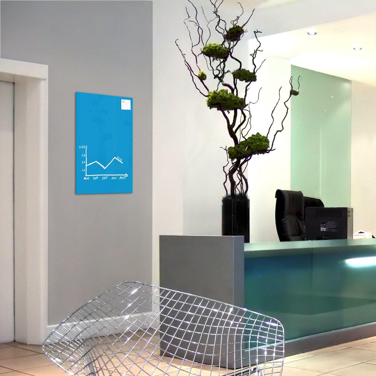 78 x 48 cm colore: Blu Lavagna magnetica in vetro // Lavagnetta 1 pennarello 2 magneti SmartGlassBoard /®