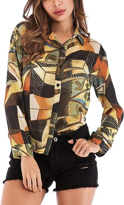 FENICAL Camisa de Gasa con Estampado de Moda para Mujer Blusa ...