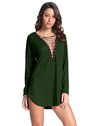 fad60503e2f Celmia Women Long Sleeve Lace Up Club Party Sexy Deep V Solid Mini  Dress/Shirts