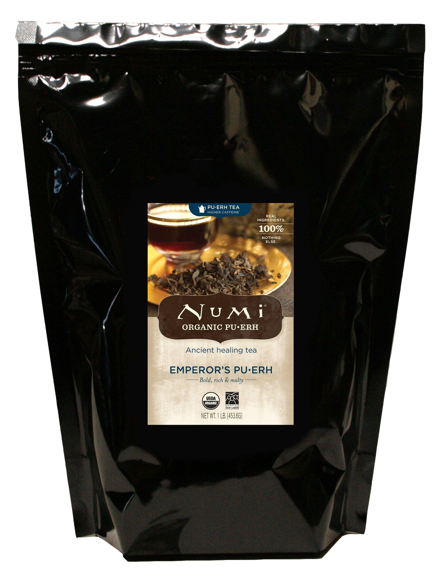 Numi Organic Tea Emperor's Pu-erh, 16 Ounce Pouch (Pack of 6), Loose Leaf Black Tea