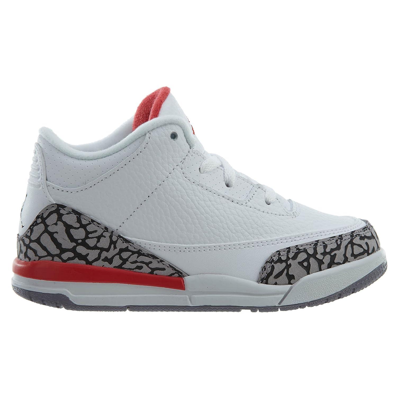 832033-116 Toddler NIKE Jordan Retro 3 Katrina White//Fire Red-Cement Grey 10 M US Toddler