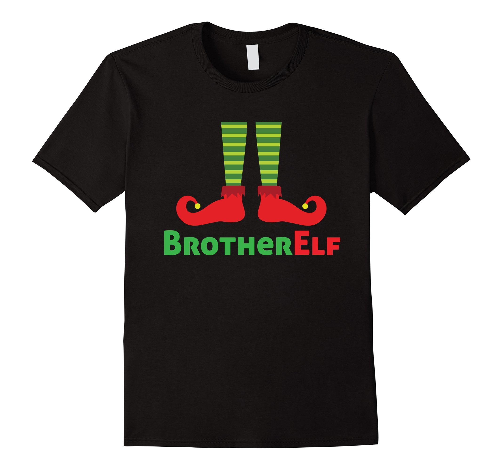 Mens Brother Elf Family Portrait Christmas Picture Greeting Cards Small Black