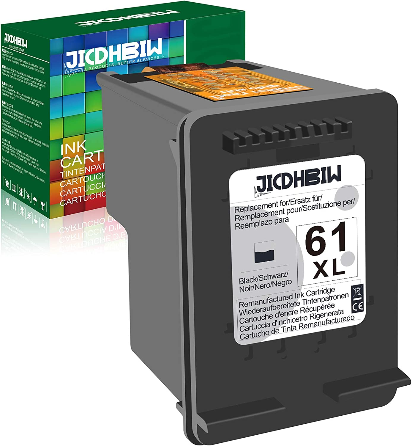JICDHBIW Remanufactured Ink Cartridge Replacement for HP 61XL 61 XL Black (1 Pack), Work with Envy 4500 4502 5530 DeskJet 2512 1512 2542 2540 2544 3000 3052a 1055 3051a 2548 OfficeJet 4630 Printer