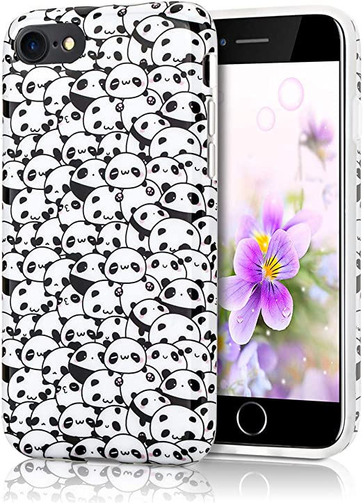 Cute Panda Case for iPhone 6s, Lightweight Thin Flexible Soft TPU Raised Edges Rubber Silicone Protective Phone Cover for iPhone 6 and iPhone 6s 4.7 ...