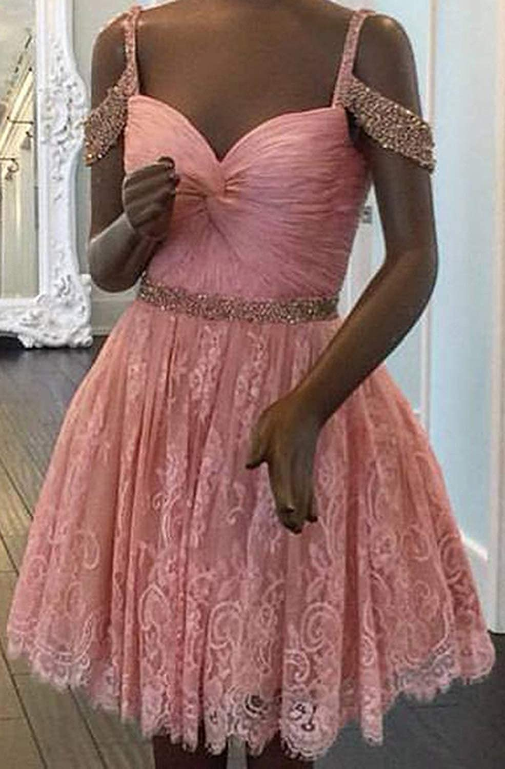 23b8d8e34 Amazon.com: HanlandyBridal Off The Shoulder Short Prom Homecoming Dresses  Lace Beaded Formal Ball Gowns: Clothing