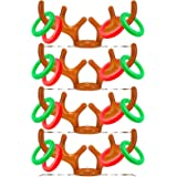 TOPLEE 4 Pack Inflatable Reindeer Antlers Ring Toss Game, Christmas Party Antler Hat Games for Kids Adults Family Indoor…