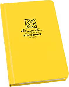 """Rite in the Rain Weatherproof Hard Cover Notebook, 4 3/4"""" x 7 1/2"""", Yellow Cover, Field Pattern (No. 350F), 7.5 x 4.75 x 0.625"""
