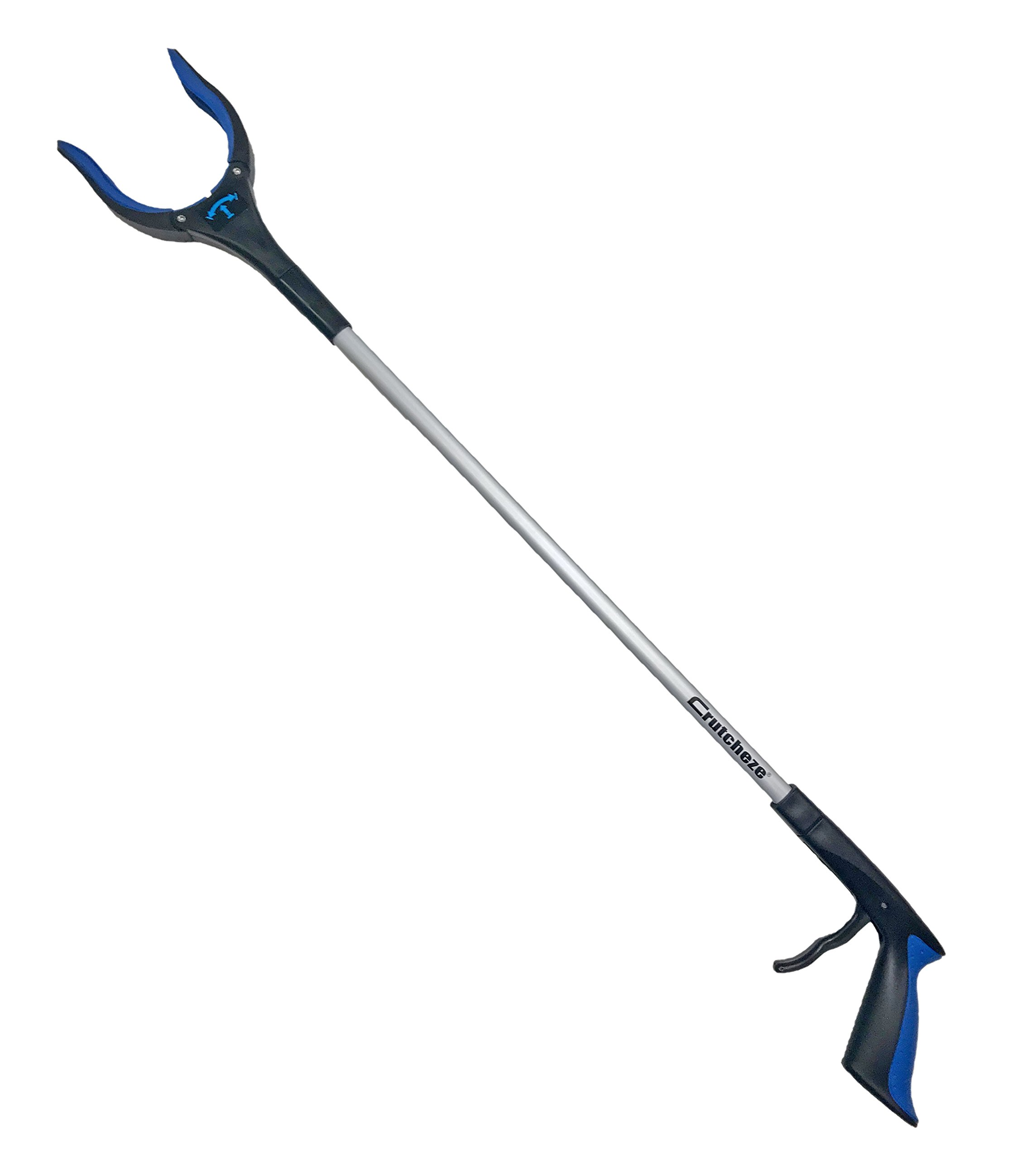 Crutcheze Reacher Grabber Mobility Aid - 32'' Reach Assist for Everyday Items - Trash Picker with Rotating Grip (Blue)
