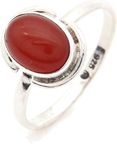 Ring Silber 925 Sterlingsilber Karneol orange rot Stein (Nr