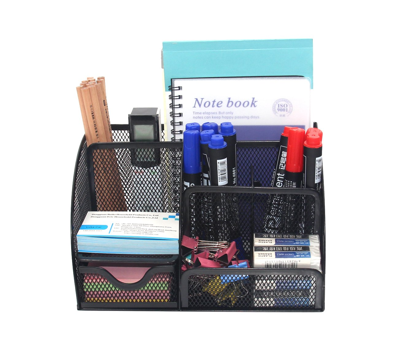 Black Power 7 Compartments EPG-Life Office Mesh Desk Organizer Pencil Holder with Drawer
