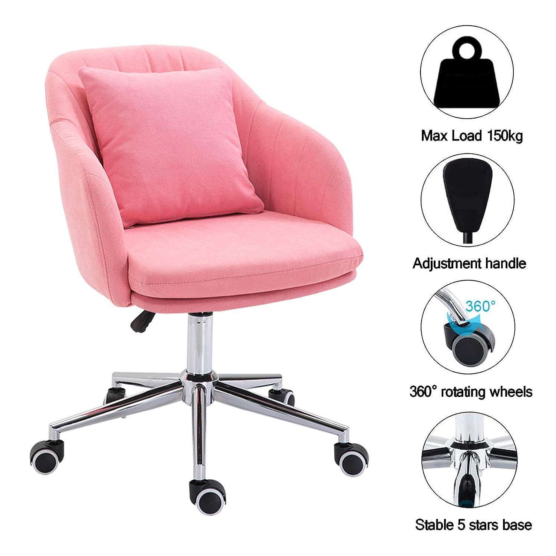 360° svängbar höjd justerbar kontorsstol ergonomisk skrivbordsstol datorstol ländryggsstöd mitten av ryggen uppgift hem accentstol Rosa