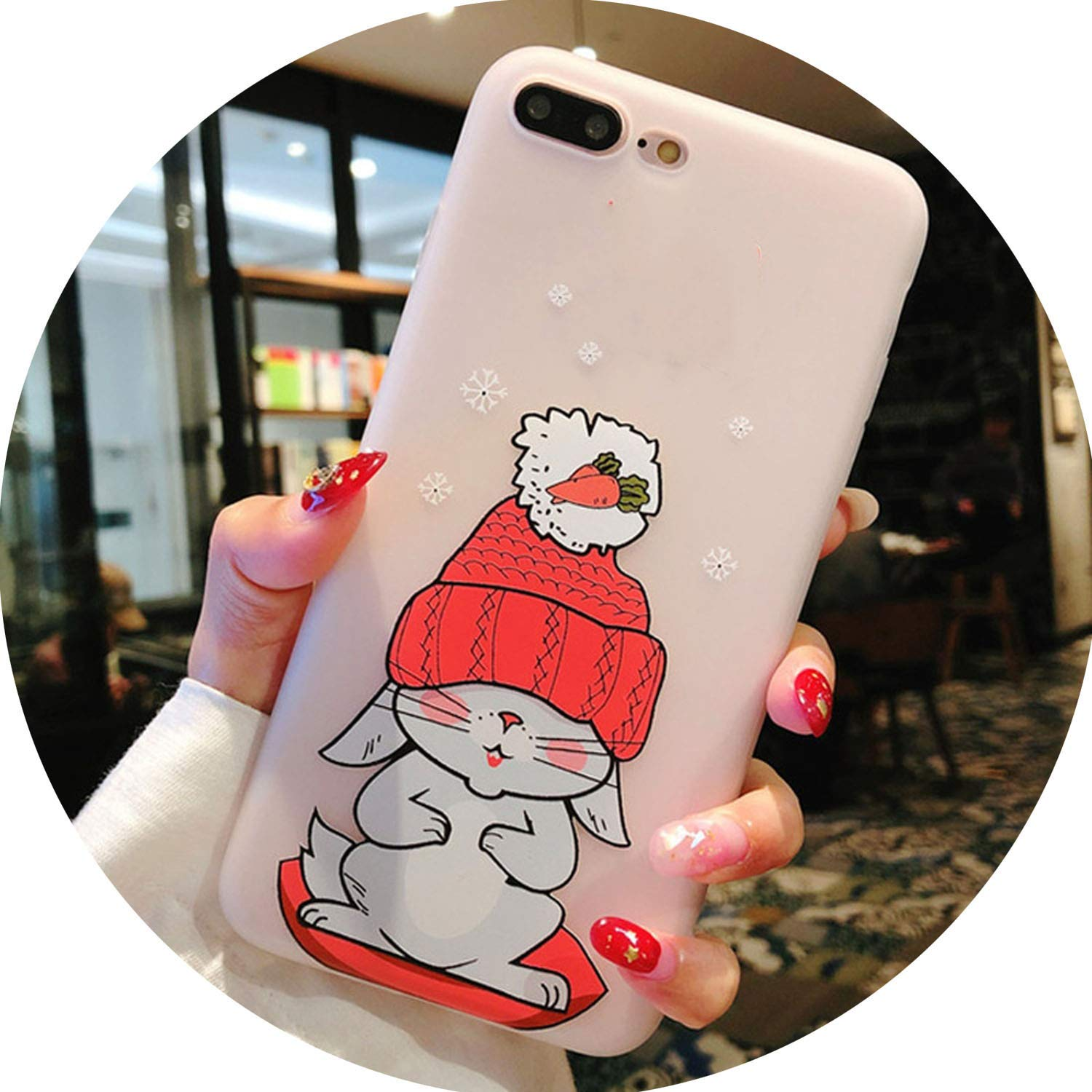 Heat-Tracing Silicone Phone Case for iPhone 7 8 Plus 3D Cartoon Elephant Rabbit Soft TPU Back Cover for iPhone X 7 6 6S Plus Cases,SJ9874,for iPhone 7 Plus