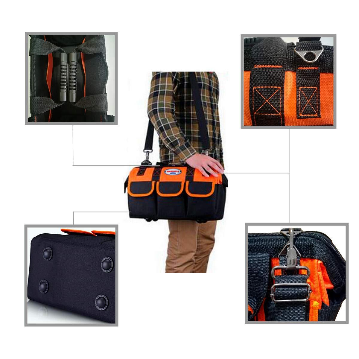 COPECHILLA sac a outils electricien professionnel,30X 23X 15CM,Noir,Mat/ériel 600D Oxford double /épaissie imperm/éables,avec ceinture r/églable et poign/ée,pour electricien,maintenanceman technique