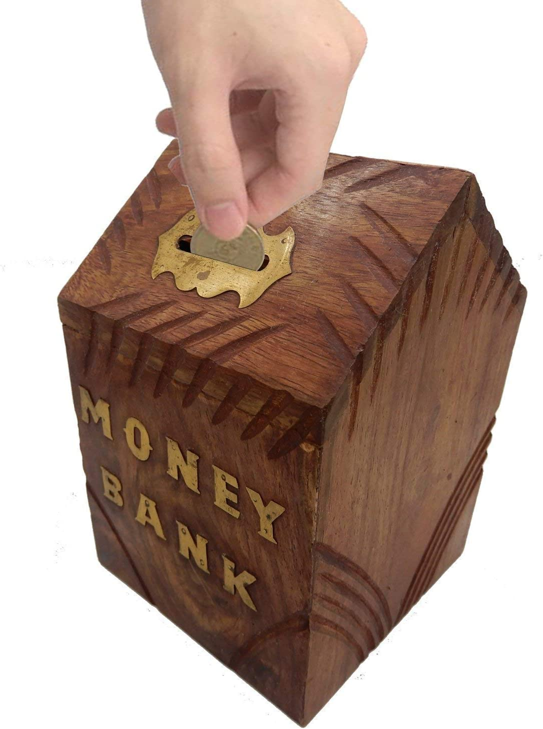3.5 Inch Handmade Safe Money Box Wooden Piggy Bank Gift For Kids Adults Decor