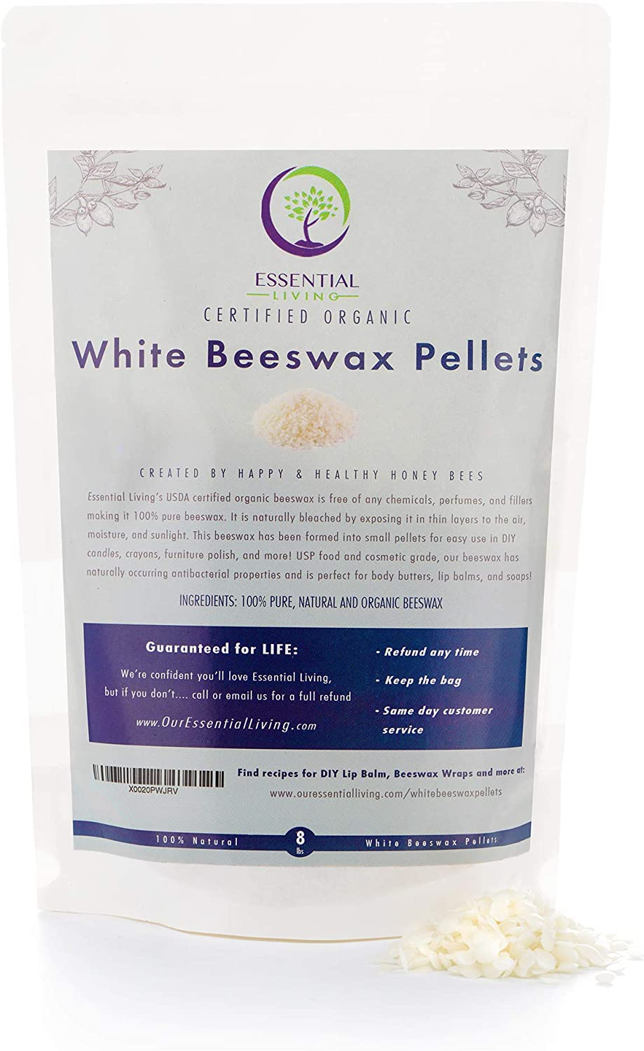 1lb - White Organic Beeswax Pellets, Certified Organic, Food Grade, Cosmetic Grade, Great for DIY Lip Balms, Candles, Beeswax Reusable Food Wraps