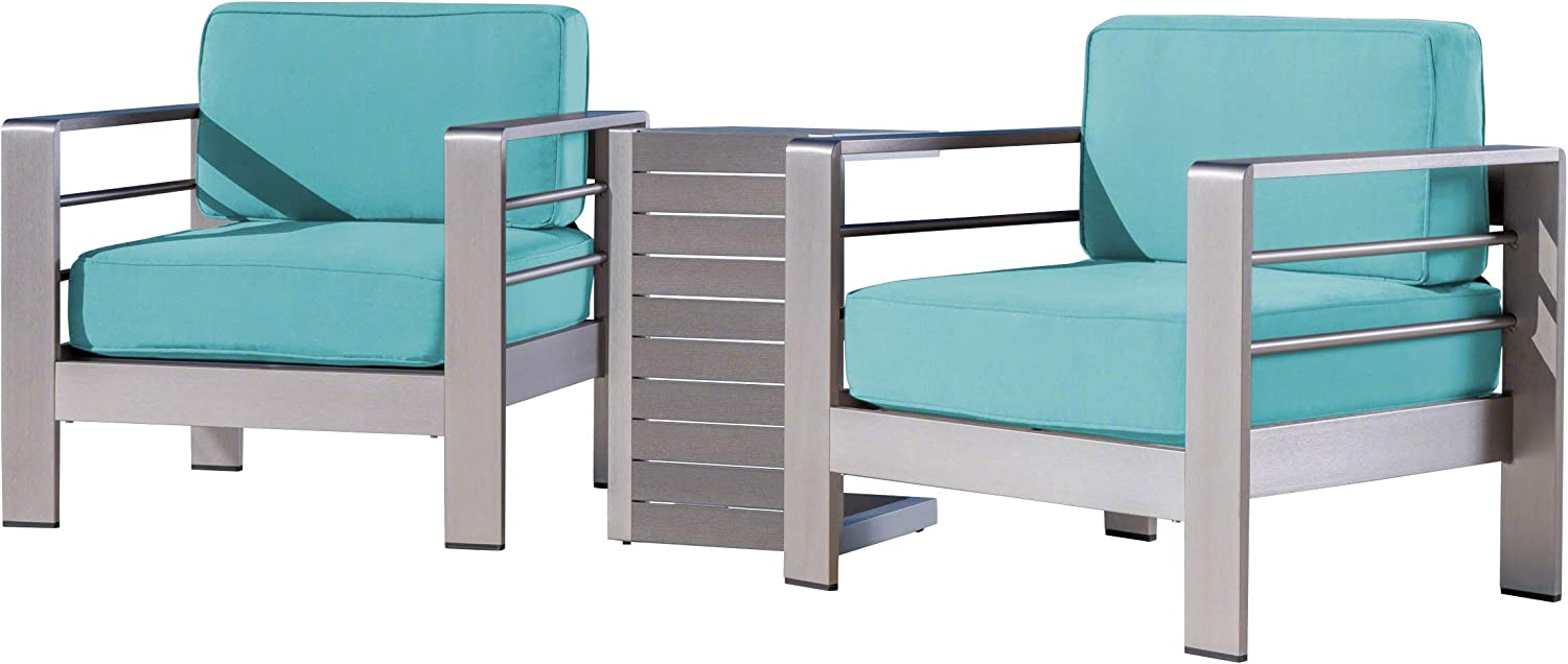Great Deal Furniture Zona Outdoor Aluminum Club Chairs and Faux Wood Side Table Set with Cushions, Silver and Canvas Aruba Sunbrella (Optional Sunbrella Cushions)