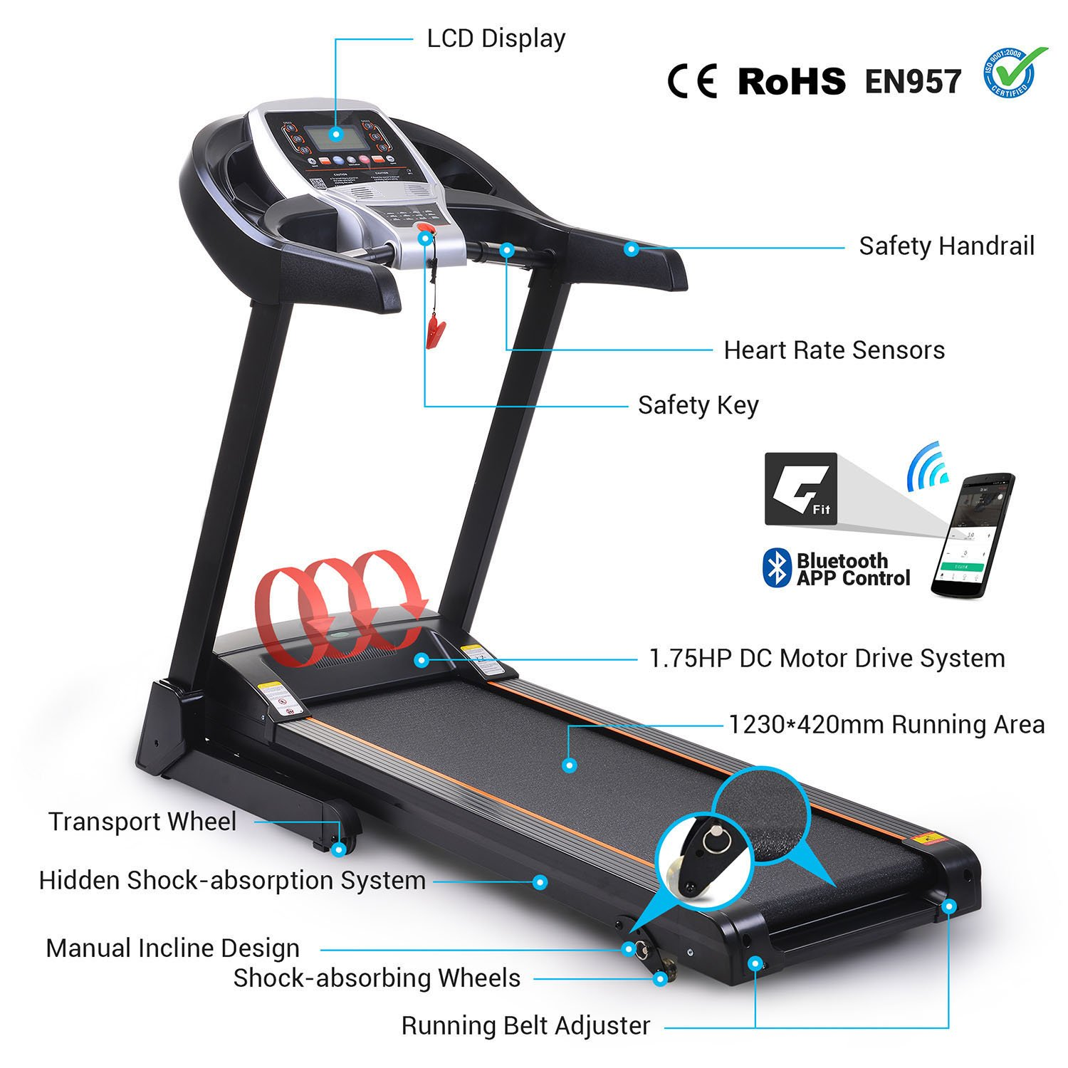 Miageek Fitness Folding Electric Jogging Treadmill with Smartphone APP Control, Walking Running Exercise Machine Incline Trainer Equipment Easy Assembly (2.25 HP - Black) by Miageek (Image #3)