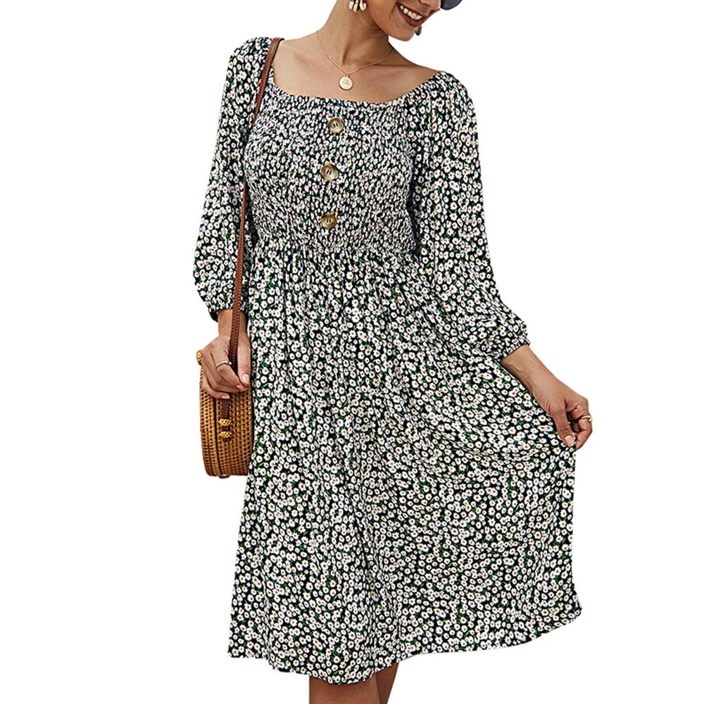 Women's Casual Pleated Swing Dress,Long Sleeve Off Shoulder Floral Print Button Up Backless A-Line Vintage Flowy Party Dress by KINGLEN Womens Dress