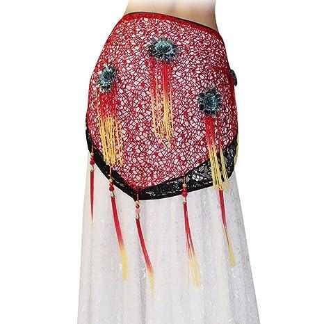 Wgwioo Dance accessories Mujer Vientre Baile Cintura Cadena Borla Flor triángulo Toalla Oriental cordón Lentejuelas Bufanda