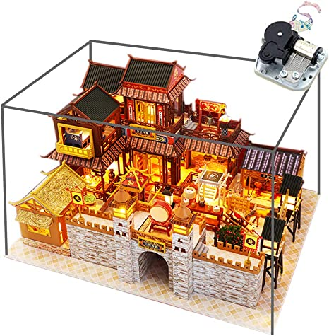 WYD Miniature Scene Chinese-Style Ancient Town Model Kit DIY Wooden Dollhouse Creative Courtyard Assembled Toy House Surprise Puzzle Gift with Dust Proof and Music