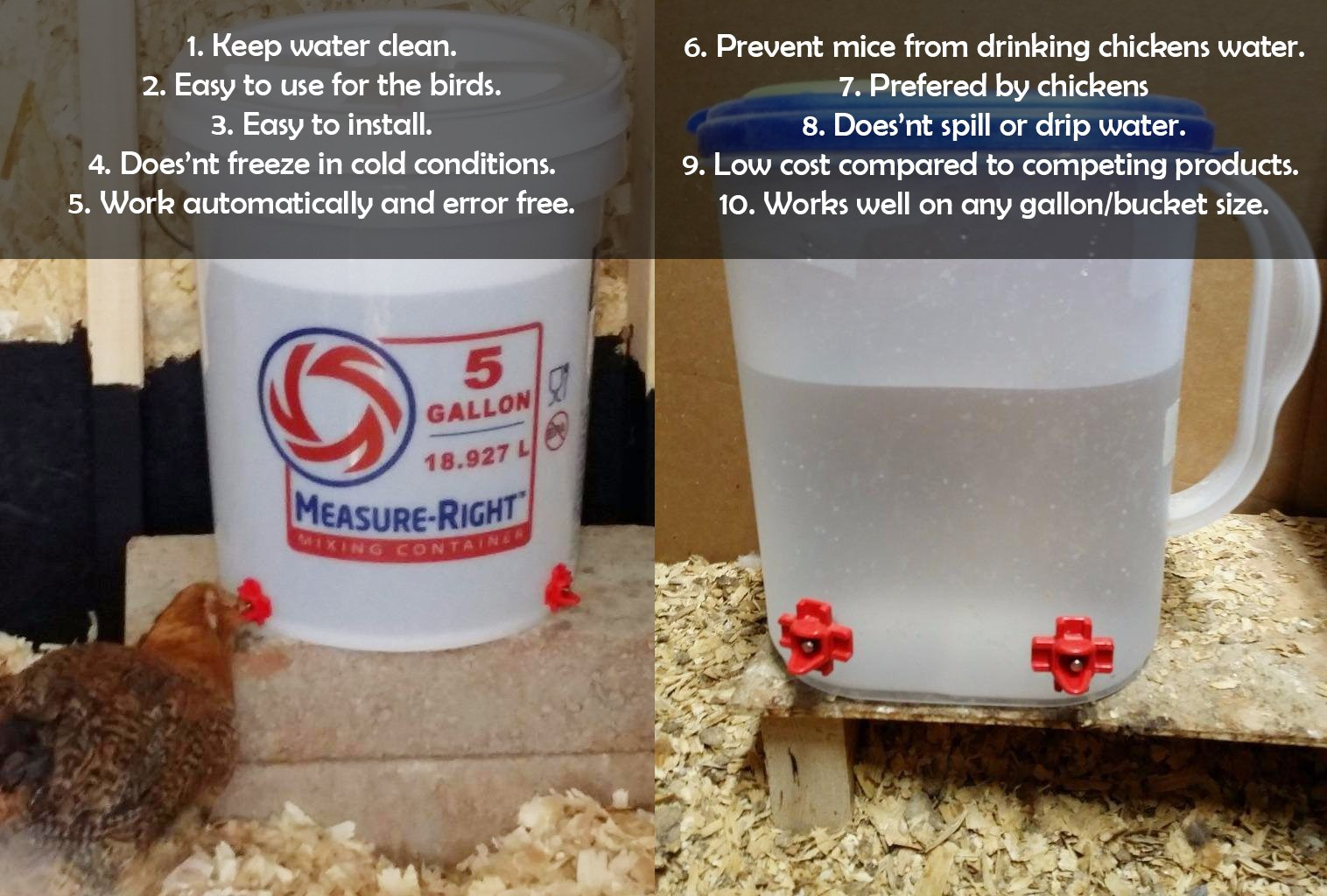 Cruzadel 12 Pack - Horizontal Side Mount Automatic Poultry Nipple Drinkers - Clean Waterer and Leakproof Drinker for Chicken or Quail by Cruzadel (Image #6)