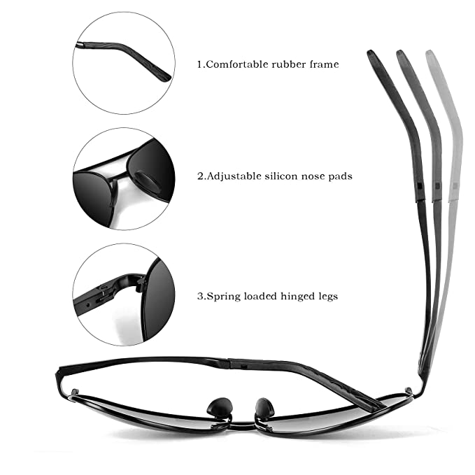 Amazon.com: MXNX Aviator Sunglasses for Men Polarized Women ...