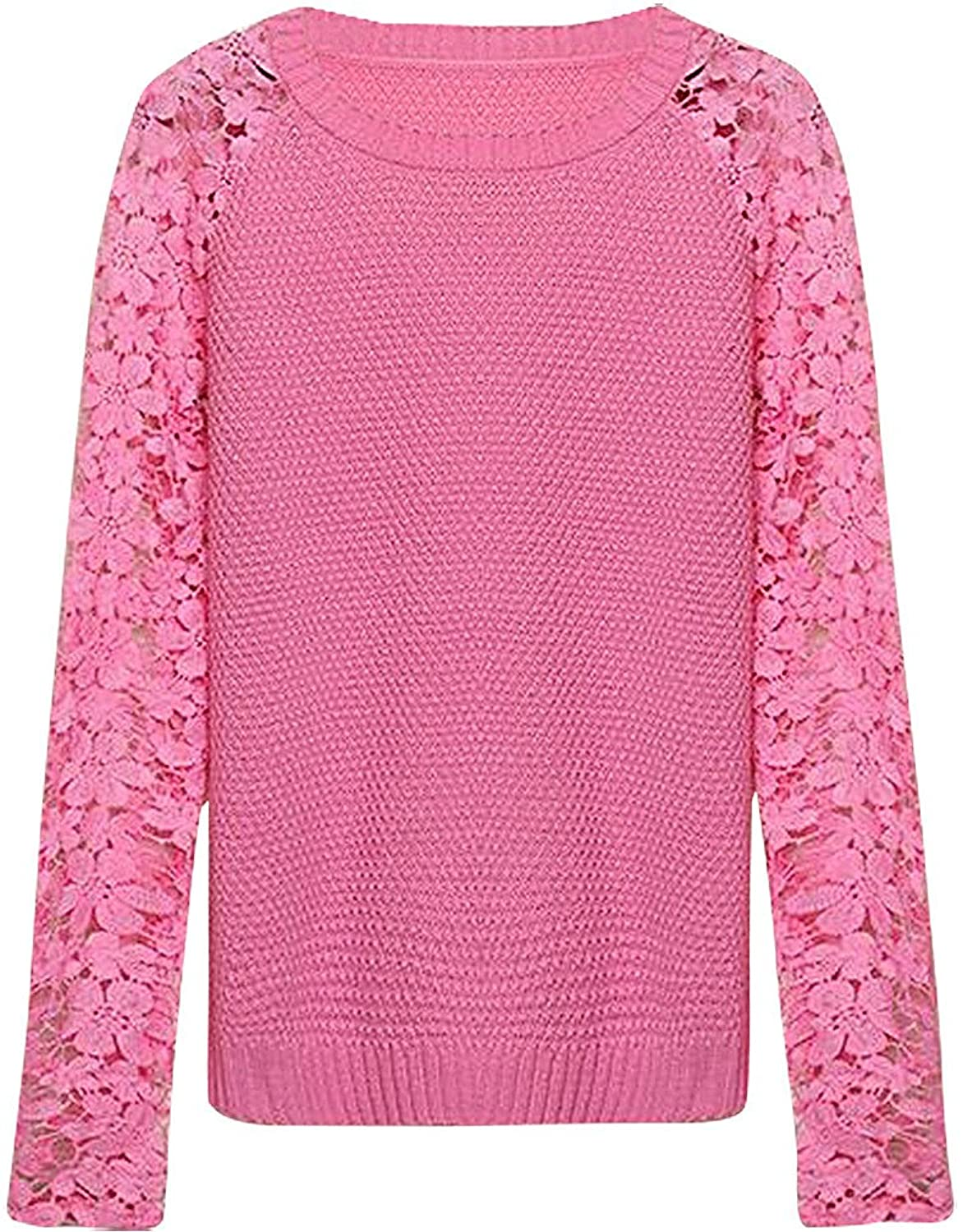 JVA Women's Stylish Slim Fit Long Lace Sleeve Thin Casual Knitted Pullover SW73