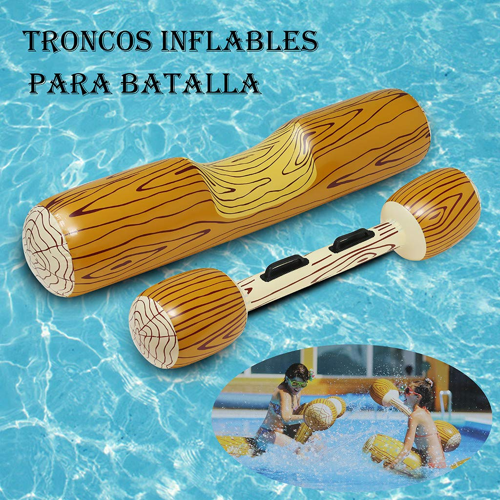 Inflatable Double Blow Stick Summer Outdoor Beach Pool Inflatable Double Shot Swimming Log Stick Set Gold