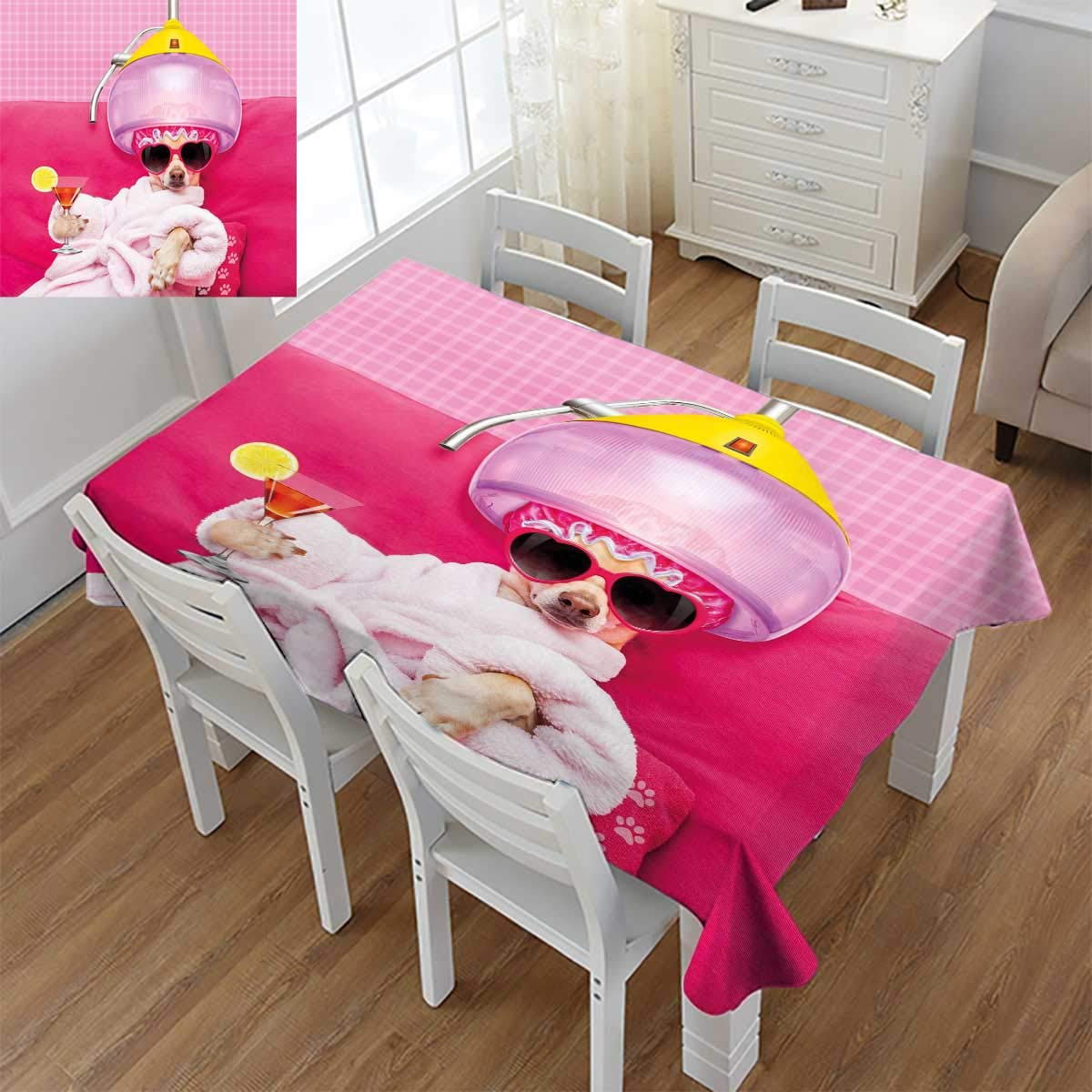 Funny,Dinning Tabletop Decor,Chihuahua Dog Relaxing and Lying in Wellness Spa Fashion Puppy Comic Print,Table Cover for Kitchen,Magenta Baby Pink,Size:60''x102''