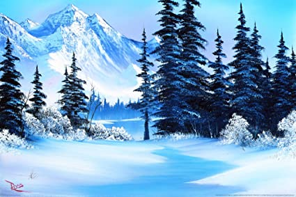 cfa35681d Amazon.com: Bob Ross Winter Mountain Art Print Painting Poster 12x18 ...