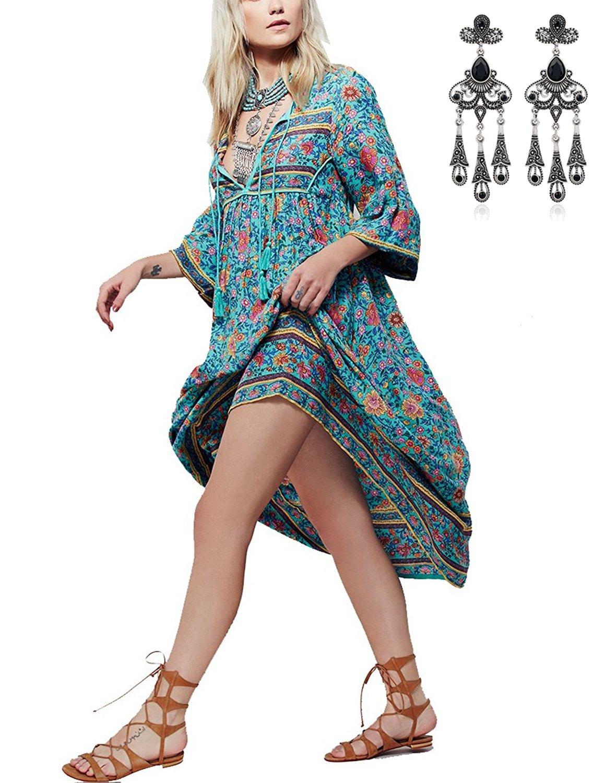 MODETREND Mujer Elegante Vestido Retro Boho Largo de Florales Impresa Vestidos Playa Vacaciones Talla Grande