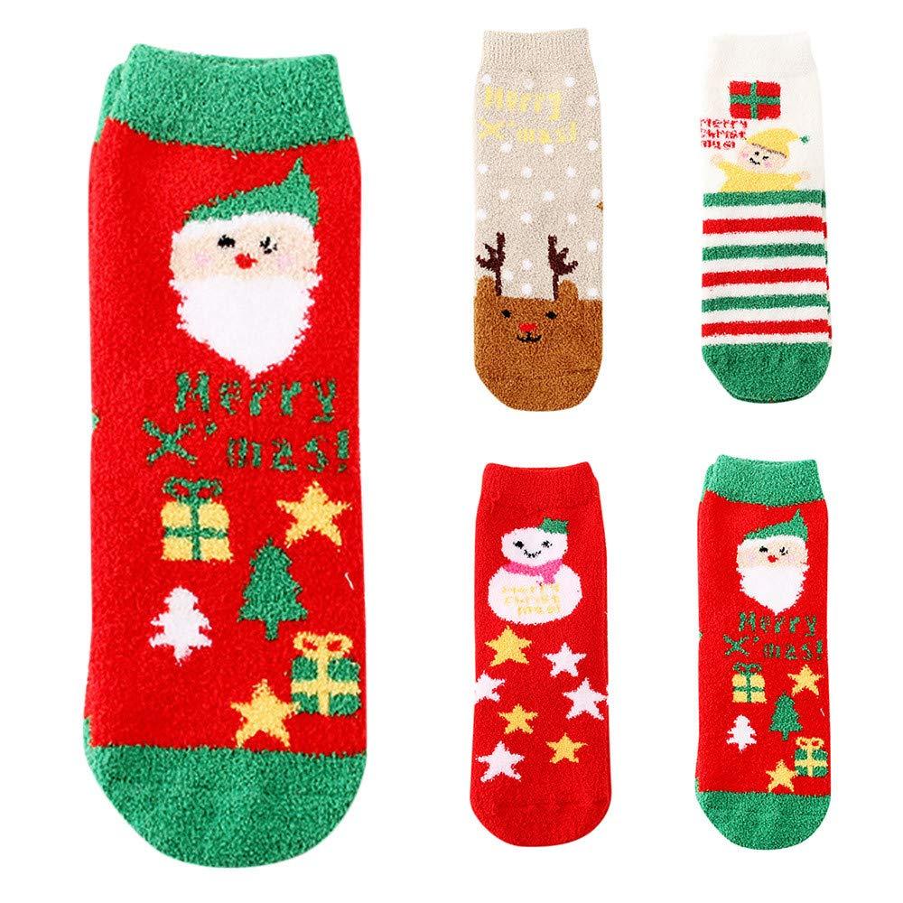 Women Slipper Socks Christmas Printed Socks Fun Elk Coral Fleece Socks Holiday Gift Socks Cotton Soft Casual Warm Socks
