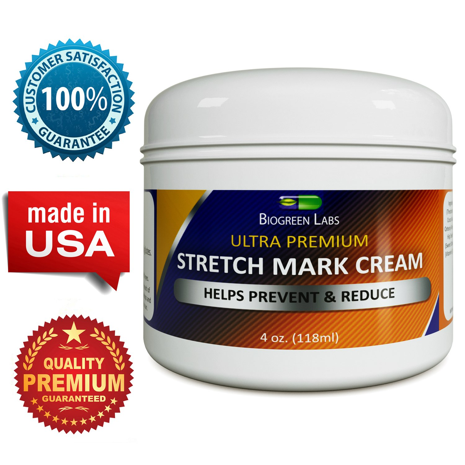 Best Stretch Mark & Scar Fading Cream for Women & Men - Reduces Pregnancy Marks & Fades Scars, & Wrinkles - Shea Butter & Jojoba Oil - - GMP Certified - USA Made - Guaranteed by California Products, 4 fl. oz./ 118 ml
