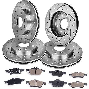 Rotores de freno y almohadillas de cerámica Full Combo Kit de freno para 02 - 06 Mini Cooper, delantera y trasera: Amazon.es: Coche y moto