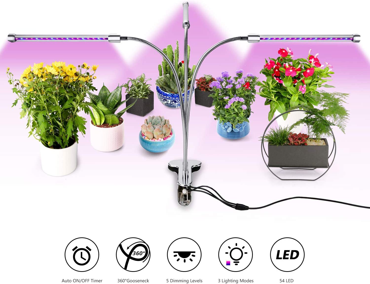 Grow Light, Belle 27W Timing 54 LED 5 Dimmable Levels Plant Grow Lights for Indoor Plants with LED Lamp Bulbs Spectrum, 3 6 12H Timer, 3 Switch Modes, Silver