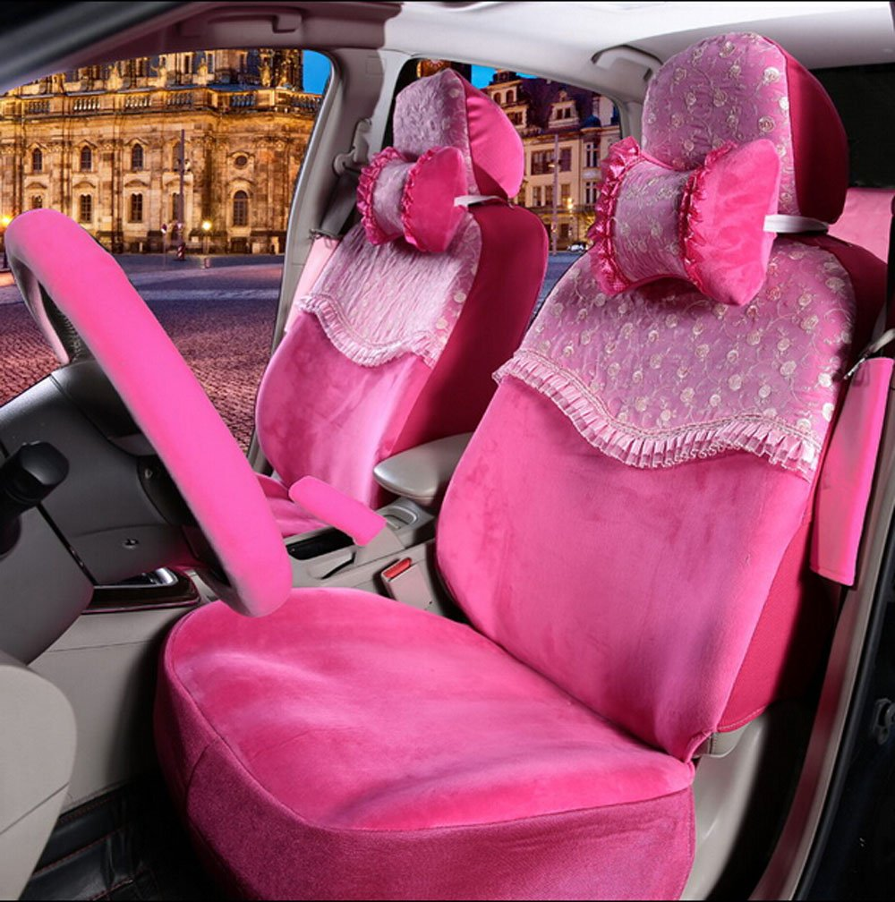 Maimai88 1 set high-grade Rose red &Lace Seat Covers Front & Back plush Seating Universal seat Four seasons women car seat cover Car Covers Interior Accessories M312