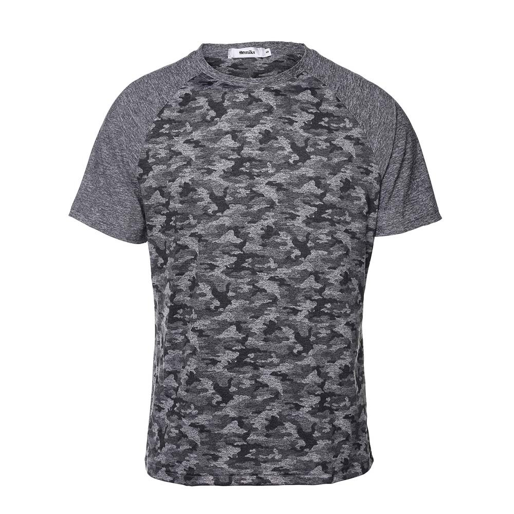 HEMIKS Camouflage Men`s Short Sleeve T-Shirt(Gray,XL)