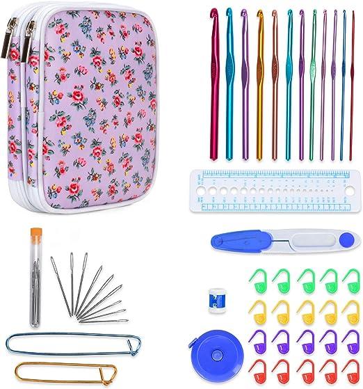 Teamoy Serie de Crochet Kits de Ganchillo Estuche para Crochet Organizador de Agujas Bolsa de Herramientas (12 Agujas de ganchillo de aluminio con accesorios completos), Flores Moradas: Amazon.es: Hogar