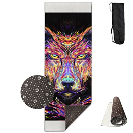 Amazon.com : QNKUqz Trippy Wolf Deluxe Yoga Mat Aerobic ...