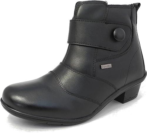 Womens Ladies Waterproof Leather Wide