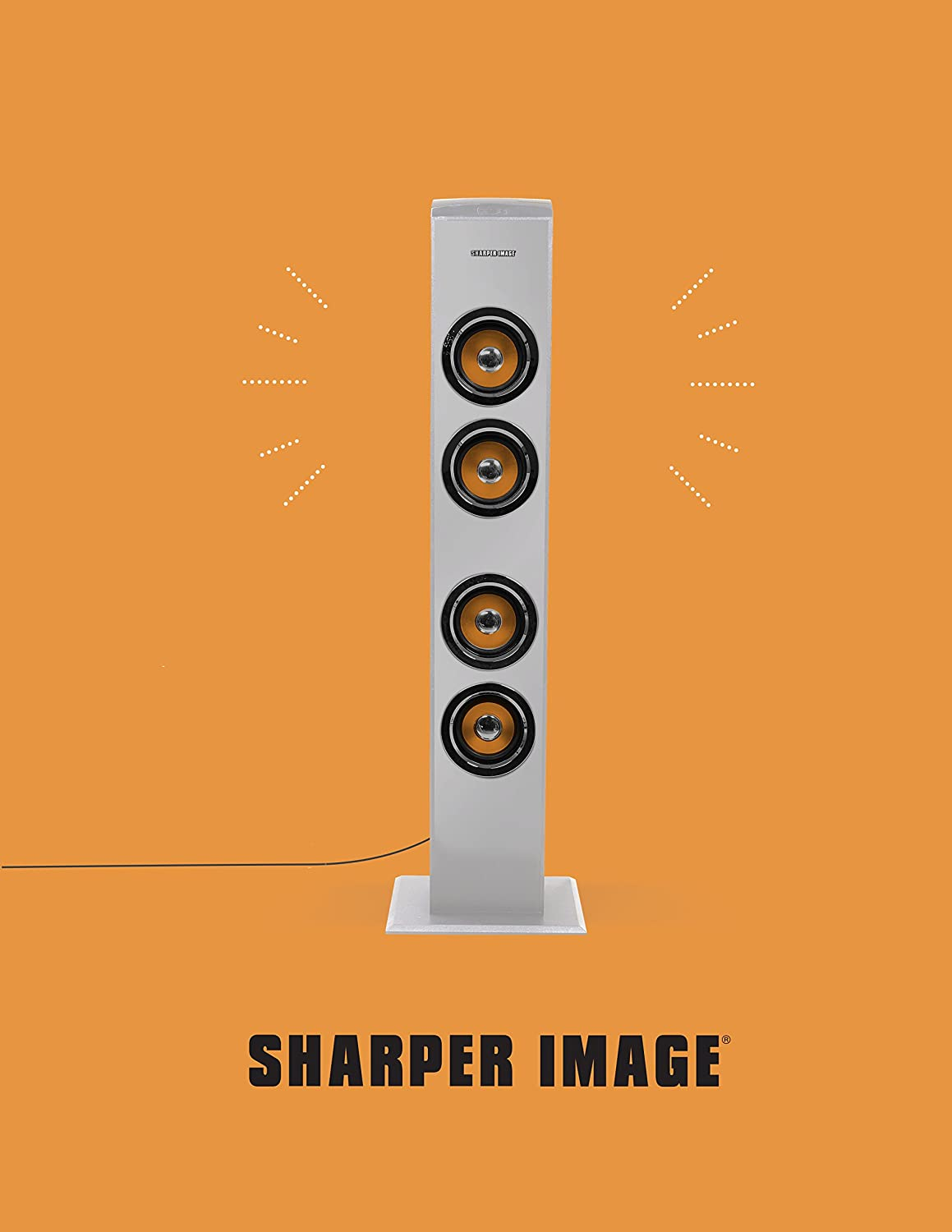 Sharper Image Premium Bluetooth Tall Tower Stereo Speaker With Led