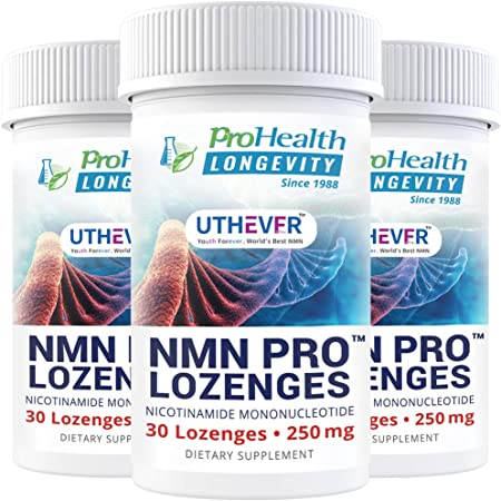 ProHealth Longevity NMN Pro Lozenges – Uthever NMN - World's Most Trusted Ultra-Pure, stabilized, Pharmaceutical Grade NMN to Boost NAD+, Used in Human Clinical Trials (250 mg, 30 lozenges) (3 Pack)