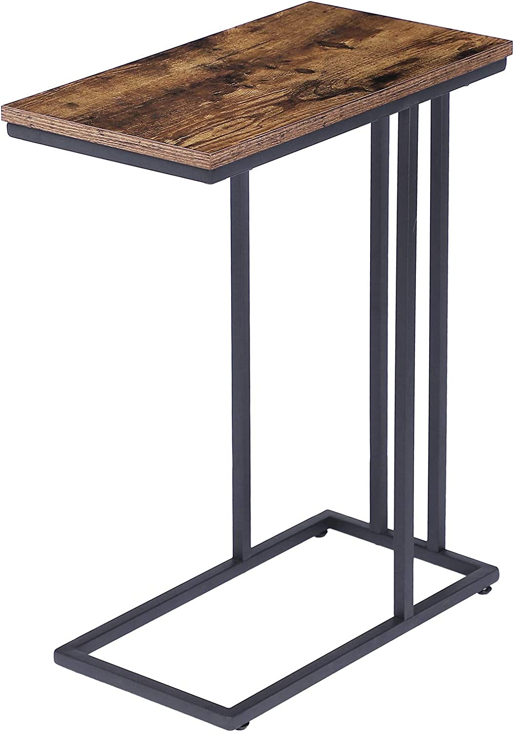 HOOBRO Side Table, Snack Table Heavy-Duty Sofa Side Table for Living Room, Bedroom, Easy Assembly, Space Saving, Wood Look Accent Furniture with Metal Frame, Rustic Brown BF02SF01