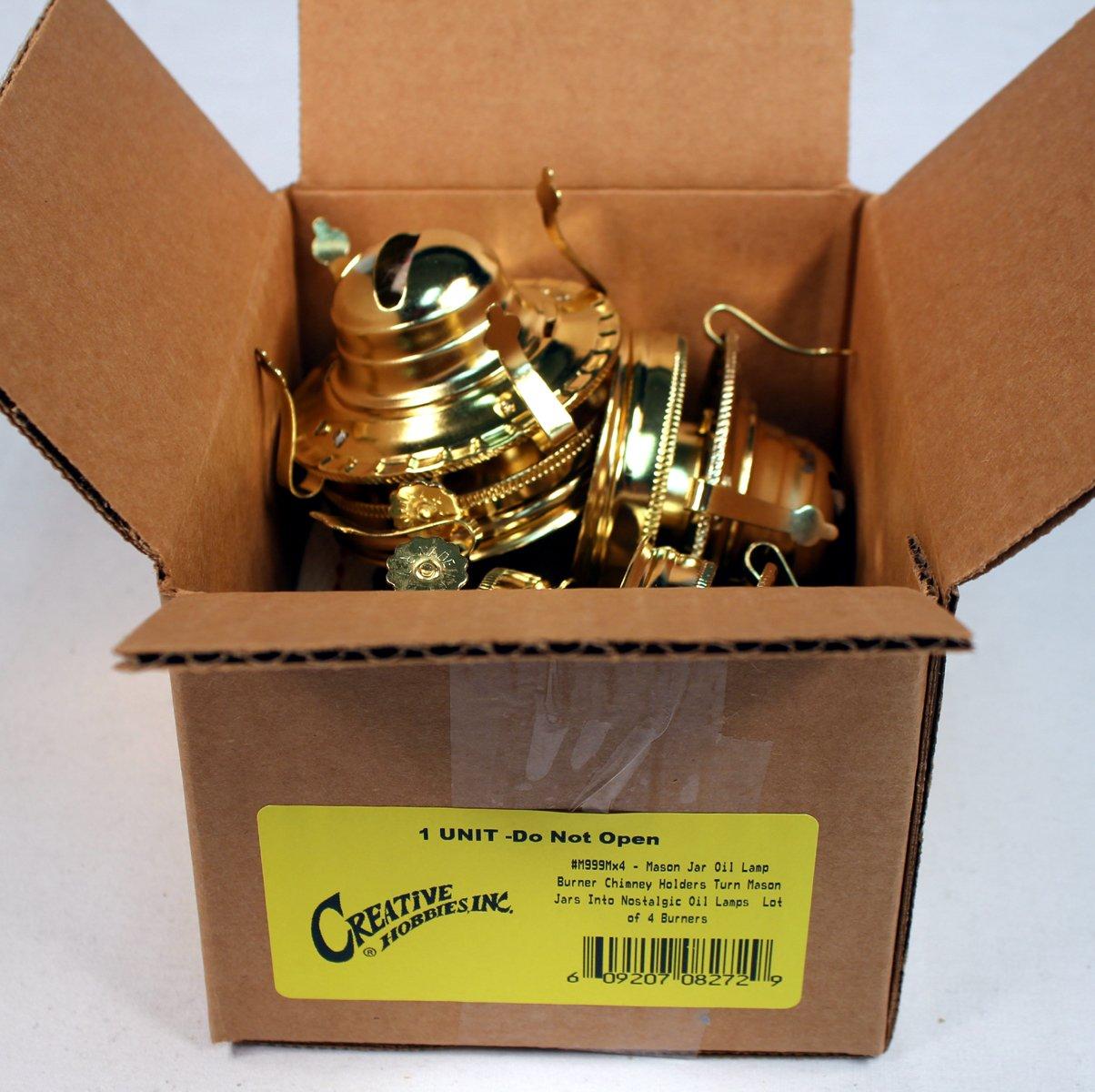 Creative Hobbies Mason Jar Oil Lamp Burner Chimney Holders Turn Mason Jars Into Nostalgic Oil Lamps ~Lot of 4 Burners