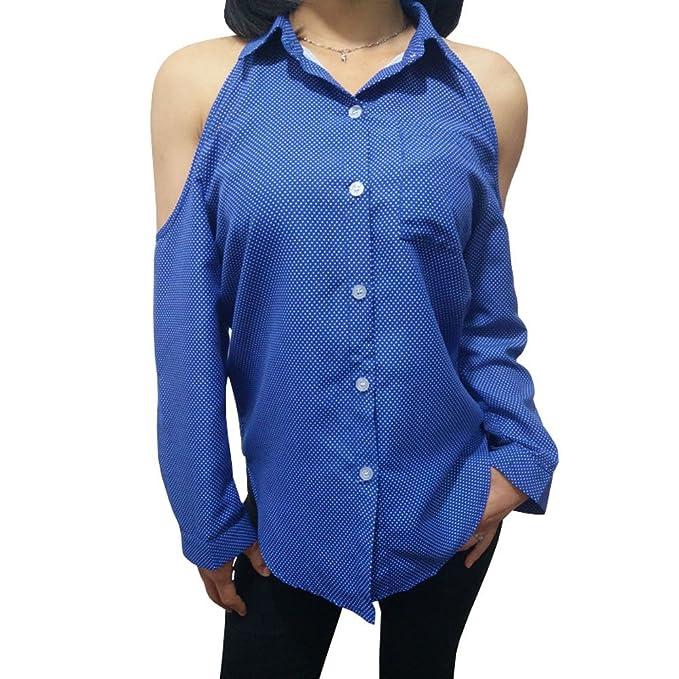 Mxssi Nueva Moda Mujeres Blusas Manga Larga Camisa Sexy Bare Hombro Oficina Señora Camisa Azul XS