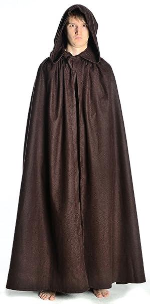 HEMAD Mantello medievale Uomo con il cappuccio - ampio - in feltro di lana  - Beige  Amazon.it  Abbigliamento 740b28b9b32
