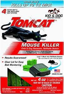 Tomcat Mouse Killer Refillable Station, Includes 1 Station with 4, 1-oz. Baits - Child and Dog Resistant - Use Indoors and Outdoors to Kill Mice