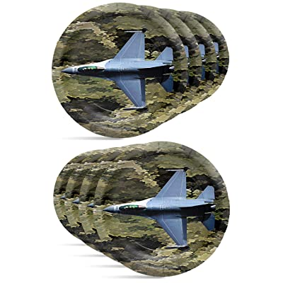 "Military Army Camo Fighter Jet Dessert Plates (7"" Round Paper Plates, 8 Pack) American Heroes Party Collection by Havercamp: Toys & Games"
